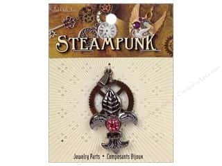 Solid Oak Pendant Steampunk Gear with Fleur De Lis