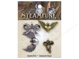 Solid Oak Charm Steampunk Bows &amp; Winged Hearts 4pc