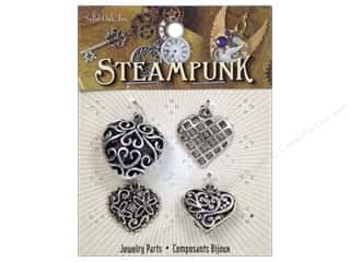 Solid Oak Charm Steampunk Hearts 4pc