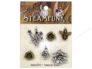 Solid Oak Charm Steampunk Flowers 6pc