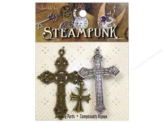 Solid Oak Charm Steampunk Crosses 3pc