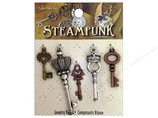 Solid Oak Charm Steampunk Small Keys 5pc
