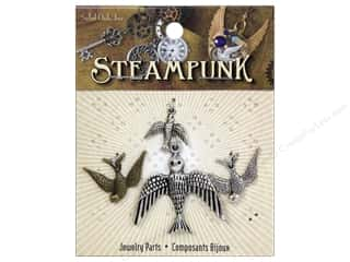 Solid Oak Charm Steampunk Birds 4pc