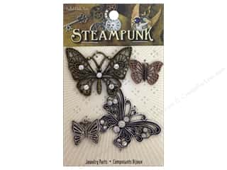 Solid Oak Charm Steampunk Butterflies 4pc