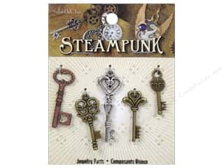 Solid Oak Charm Steampunk Medium Keys 5pc