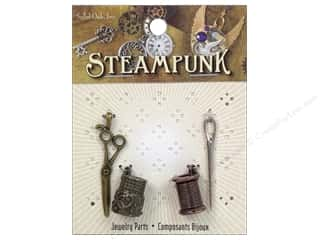 Solid Oak Charm Steampunk Sewing 4pc