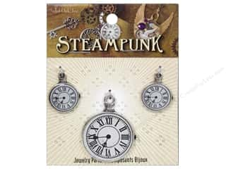 Solid Oak Charm Steampunk Clock 2 3pc