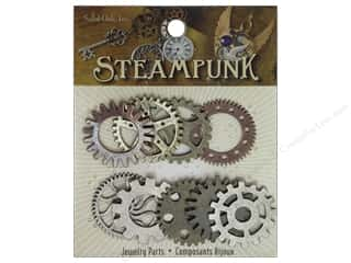 Solid Oak Charm Steampunk Gears 9pc