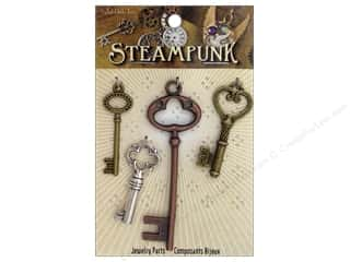 Solid Oak Charm Steampunk Large Keys 4pc