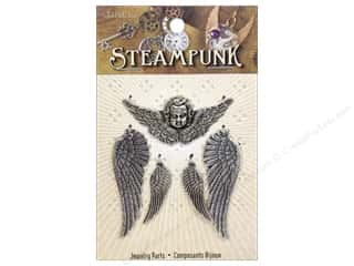 Solid Oak Charm Steampunk Wings And Cherub 5pc