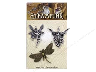 Solid Oak Charm Steampunk Fairies 3pc