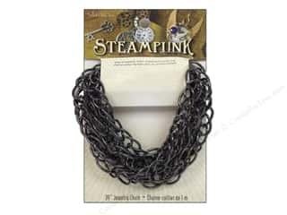 Solid Oak Chain Steampunk C 39&quot; Gunmetal