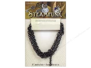 Solid Oak Chain Steampunk E 39&quot; Gunmetal