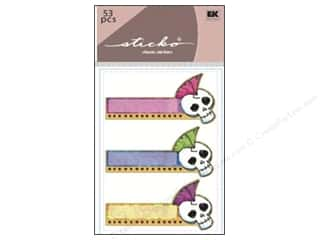 Adhesive Tabs Captions: EK Sticko Sticky Flags Punk Skull