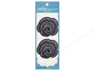 Jolee's Boutique Le Fleur Embellishments Flower Crochet Black White