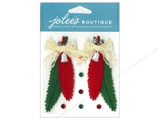 Bells Red: Jolee's Boutique Stickers Felt Feathers Red