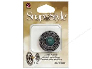 Clearance Cousin Snap In Style Accent: Cousin Snap In Style Accent Metal Cabochon Turq