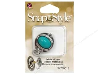 Cousin Corporation of America $1 - $3: Cousin Snap In Style Accent Metal Teardrop Turquoise