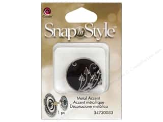 Charms Cousin Snap In Style Accent: Cousin Snap In Style Accent Metal Leaves Black
