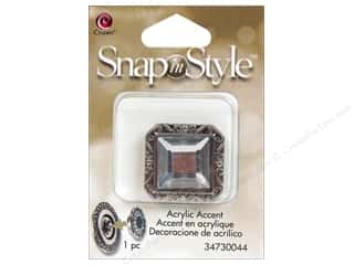 Charms Cousin Snap In Style Accent: Cousin Snap In Style Accent Metal Facet Square