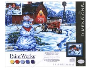 Farms Projects & Kits: Paintworks Paint By Number Kit 20 x16 in. Country Snowman