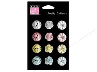 button: Bazzill Pretty Buttons 12 pc. Vintage Marketplace