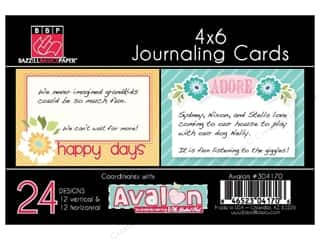 Clearance Bazzill Lickety Slip Journaling Cards: Bazzill Journaling Cards 4 x 6 in. Avalon 24 pc.