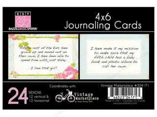 Clearance Bazzill Lickety Slip Journaling Cards: Bazzill Journaling Cards 4 x 6 in. Vintage Marketplace 24 pc.