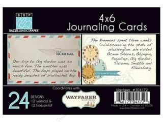 Clearance Bazzill Lickety Slip Journaling Cards: Bazzill Journaling Cards 4 x 6 in. Wayfarer 24 pc.