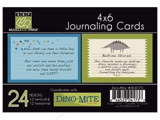 Clearance Bazzill Lickety Slip Journaling Cards: Bazzill Journaling Cards 4 x 6 in. Dino-Mite 24 pc.