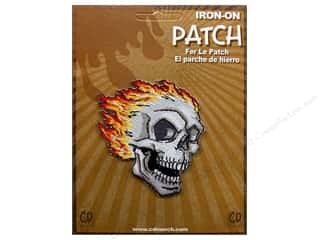 Clearance C&D Visionary Patches: C&D Visionary Applique Skulls Side Skull with Flames