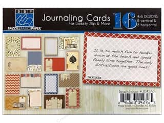 beache $6 - $8: Bazzill Lickety Slip Journaling Cards 4 x 6 in. Beach House 16 pc.