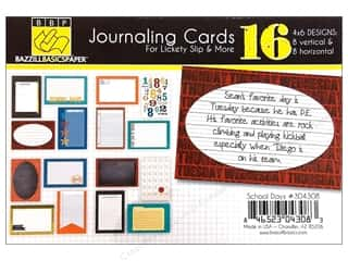 Clearance Bazzill Lickety Slip Journaling Cards: Bazzill Journaling Cards 4 x 6 in. School Days 16 pc.