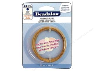 Fibre-Craft wire: Beadalon German Wire 24ga Round Satin Brass 39.4 ft.