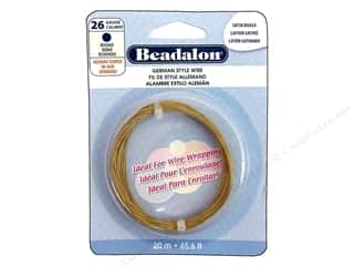 Beadalon German Style Wire 26ga Round Satin Brass 65.6ft