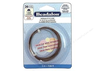 Beadalon German Style Wire Half Rnd 20ga Ant Br 3M