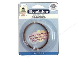 Clearance Beadalon German Style Wire: Beadalon German Wire 21ga Half Round Antique Brass 13.12 ft.