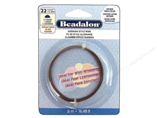 Beadalon German Wire 22ga Half Round Antique Brass 16.4 ft.