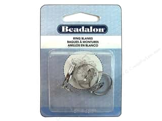 Beadalon Ring Blank Disc Hole White Plated 3pc