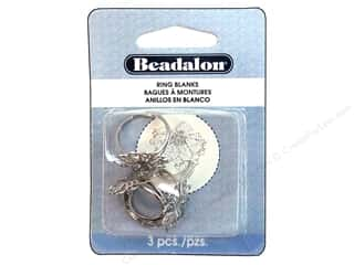 Beadalon Ring Blank Petals White Plated 3pc