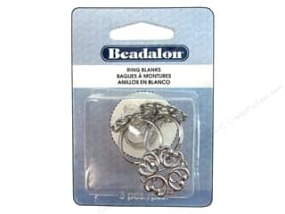 Beadalon Ring Blank Hearts 3 pc. White Plated