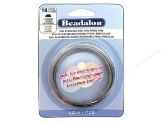 beadalon steel wire: Beadalon 316L Stainless Steel Wrapping Wire 18 ga Half Round