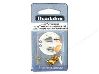 Beadalon Cap Findings/Spacer Findings: Beadalon EZ-Tie Cone Ends 2 pc. Gold Color