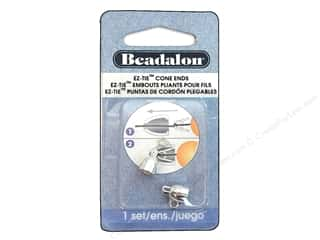 Beadalon Cap Findings/Spacer Findings: Beadalon EZ-Tie Cone Ends 2 pc. Silver Plated