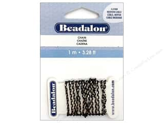 Beadalon Chains: Beadalon Medium Cable Chain 3.0 mm Black 1 m