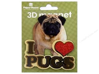 Paper House Hearts: Paper House Magnet 3D I Love Pugs