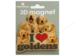 Paper House Magnet 3D I Love Goldens