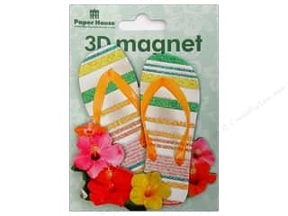 Magnets: Paper House Magnet 3D Flip Flops