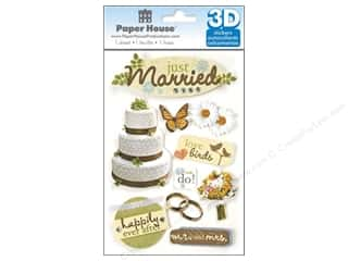 Wedding Brown: Paper House Sticker 3D Just Married