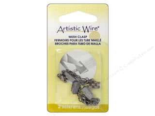 Artistic Wire Beading & Jewelry Making Supplies: Artistic Wire Mesh Clasp with Extension Chain & Lobster Clasp 3/8 in. 2 pc. Hematite (3 pieces)